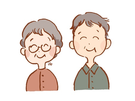 Illustration of grandpa grandma