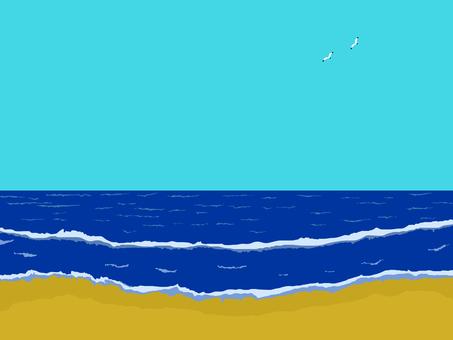 Cut summer sea saganum and seagulls