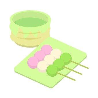 Three color dumplings and tea
