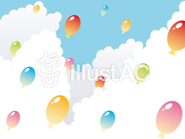 【フリーイラスト素材】風船空へ飛び立つ