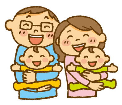 People (couple and twin babies)