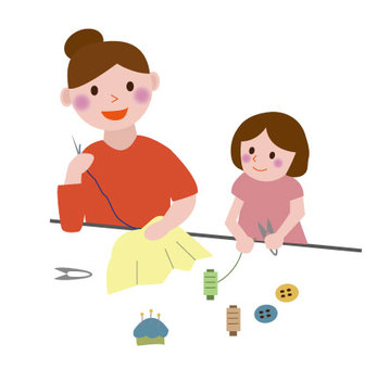 Parent and child sewing