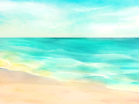 Watercolor hand-drawn sea background material