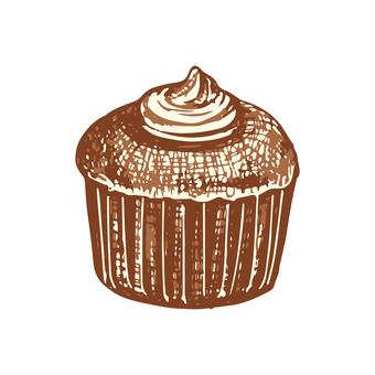 カップケーキのスケッチイラスト