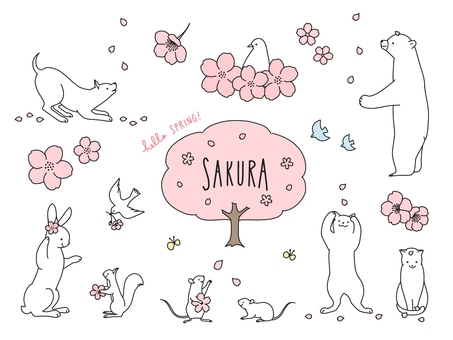 Cherry blossoms and animals
