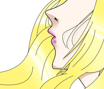 """아름다운 여성의 입가 """"장발 금발"""""""