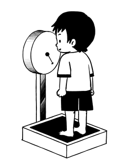 Primary schoolchild boy physical measurement