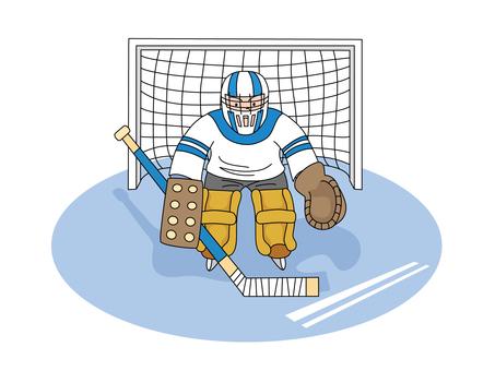 Ice hockey keeper's boy