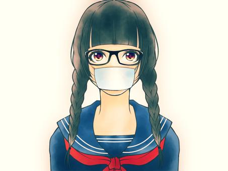 Serious girls (mask, glasses)