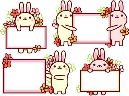 Rabbit frame full of flowers