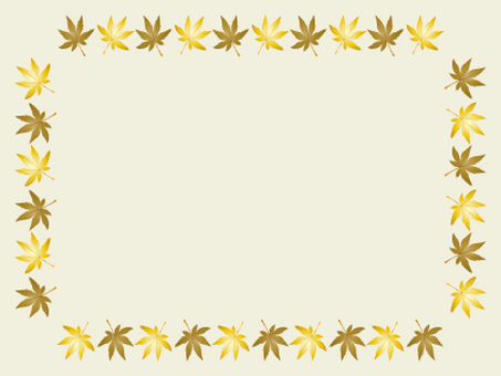 Frame of autumnal leaves of gold