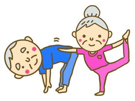 An exercising couple