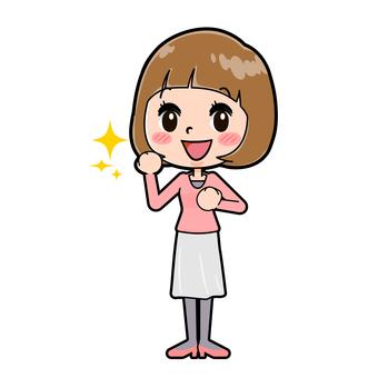 핑크 옷 젊은 여성 승리의 포즈
