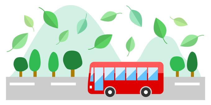 Fresh green bus travel image