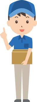 Courier service | Delivery person | work clothes | finger pointing