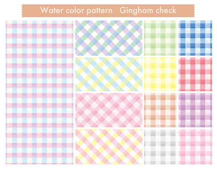Water color pattern _ gingham check
