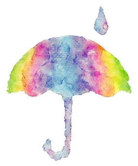 Umbrella watercolor painting · rainbow color