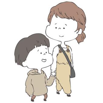 母と子の散歩