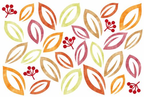 秋天背景/葉子和水果