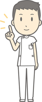 Male nurse - finger pointing - whole body