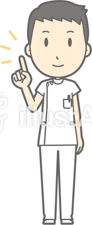 男性看護師-指差し-全身のイラスト