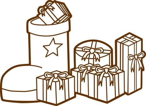 선물과 크리스마스 부츠 흑백 버전