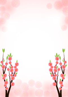 Peach blossom background with branches