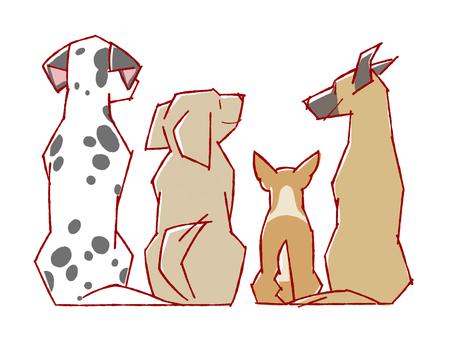 4隻狗背面的插圖