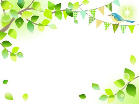 Fresh green and garland frame