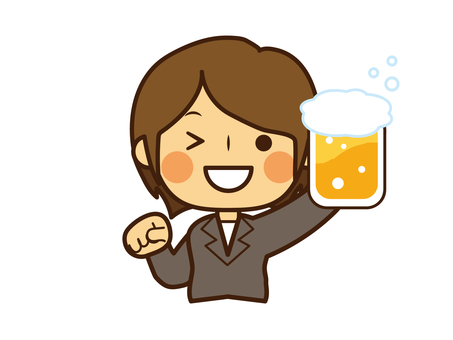 Woman suit toasting beer