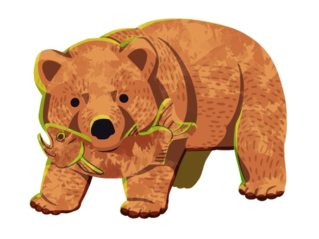 Wood carving bear illustration