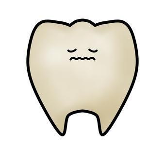 누르스름 한 치아의 캐릭터 (윤곽선 있음)