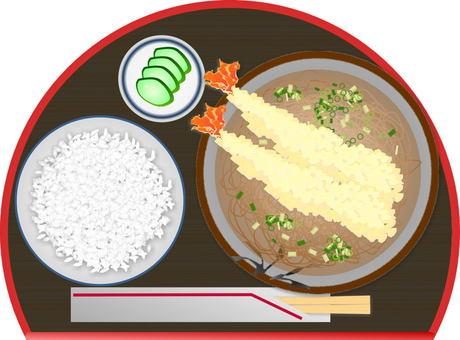 Tempura soba set meal