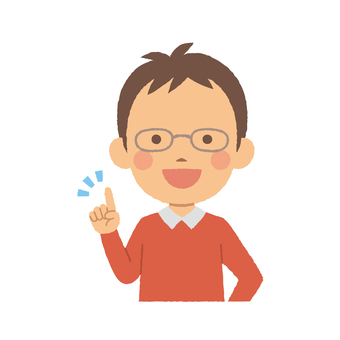 Male half body pointing pose with glasses