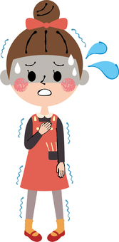 Child girl cold cold tension anxiety whole body