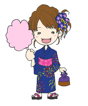 Yukata with girls and cotton candy