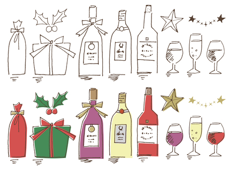 Hand-drawn Christmas wine