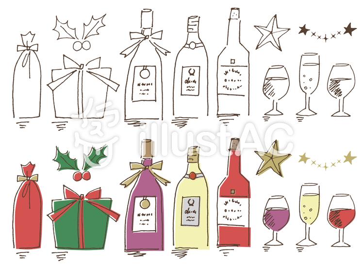 手描きクリスマスワインイラスト No 546506無料イラストなら