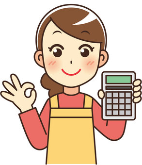 Cute housewife with calculator
