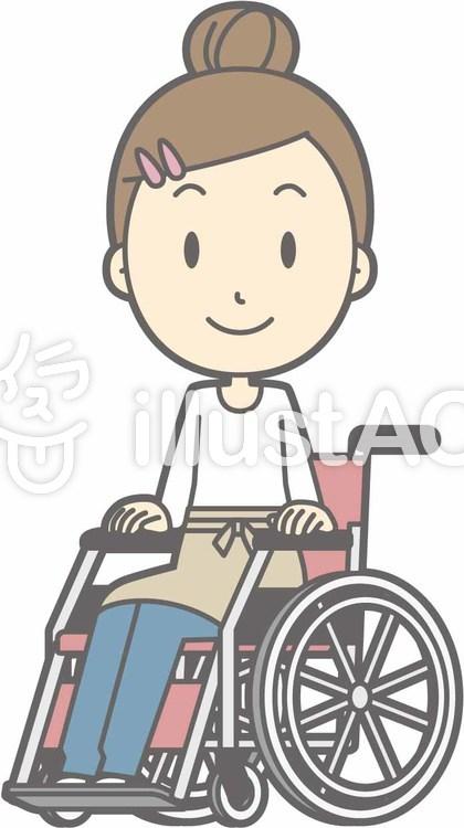 エプロン主婦c-車椅子笑顔-全身のイラスト