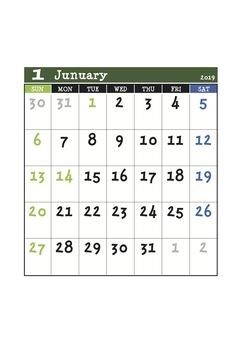 2019 green calendar january