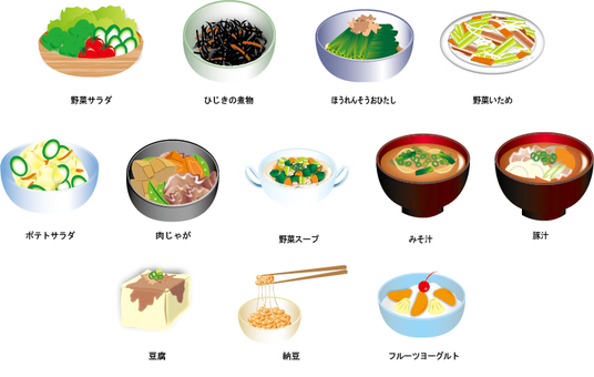 Side dishes material illustration collection