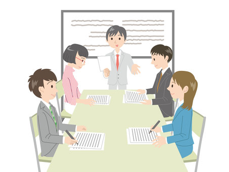 Person / 5 office workers / meeting / no line