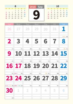 Calendar September, 2018