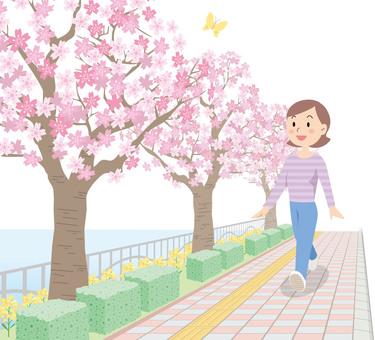 Spring walk illustration