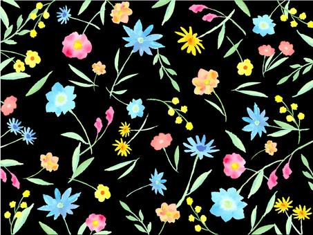 水彩の手描き花柄 黒地