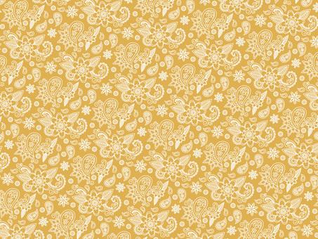 Flower paisley pattern fashionable yellow background