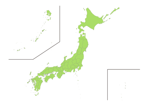 Illustration of Japan map by prefecture