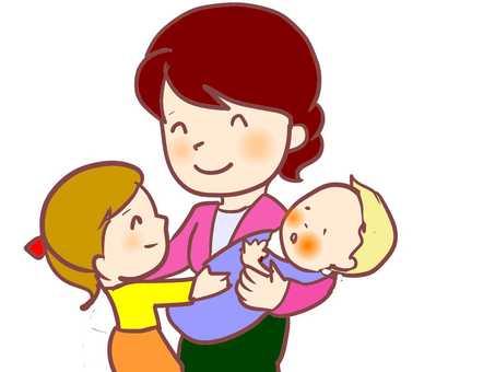 母親的孩子父母和孩子的嬰兒姐姐