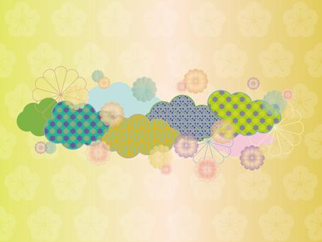 Retro pop Japanese pattern cloud and chrysanthemum 1